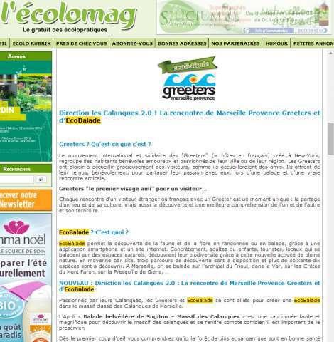 article de l'écolomag sur ecoBalade