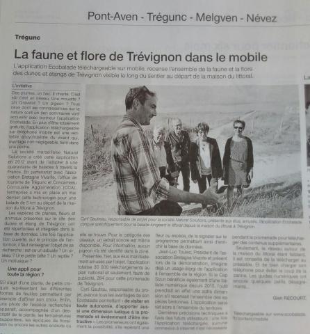 Ouest France - La faune et flore de Trévignon dans le mobile