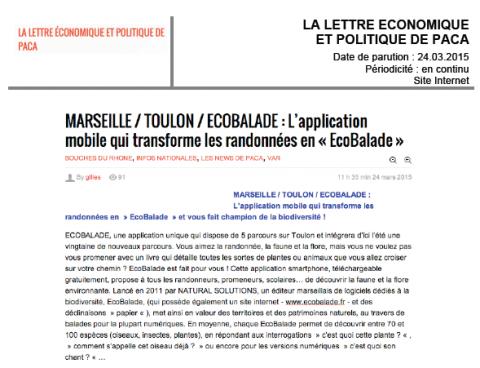 Lettre économique et politique de PACA - Ecobalade