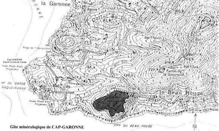 Carte, zone de l'Arméria du Pradet