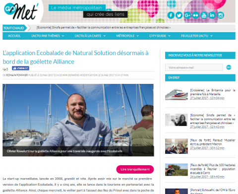 GoMet' : L'application Ecobalade de Natural Solution à bord de la goélette Alliance
