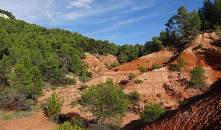 Riche en hématite le sol contraste avec la blancheur des calcaires (crédit : Elian)