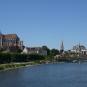 Centre ville d'Auxerre. Vue globale sur les monuments